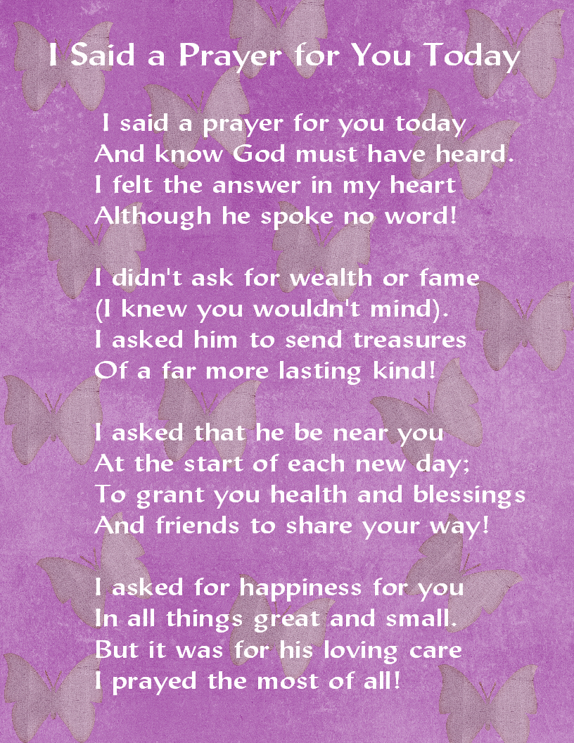Exceptional image throughout i said a prayer for you today printable