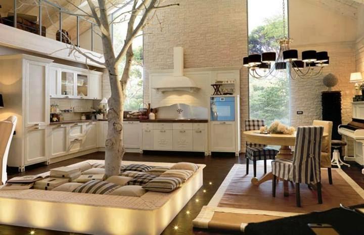 Case di lusso case di lusso un albero in cucina - Cucina di lusso ...
