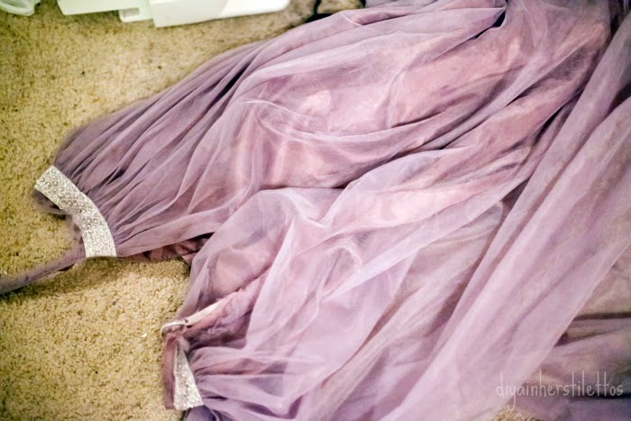 DIY sewing project, making tulle skirt, thrifting