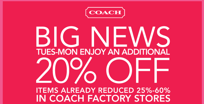 Coach outlet coupon october 2018