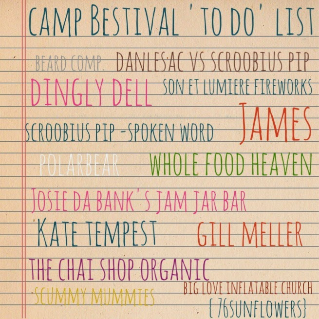 Camp Bestival 2014 'To do' list // 76sunflowers
