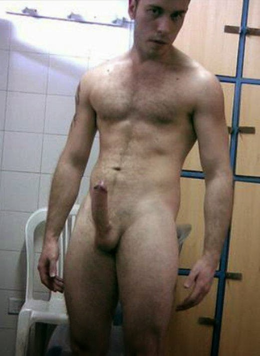 Lad Naked With Hard Cock In Gym Locker Room Write Ment