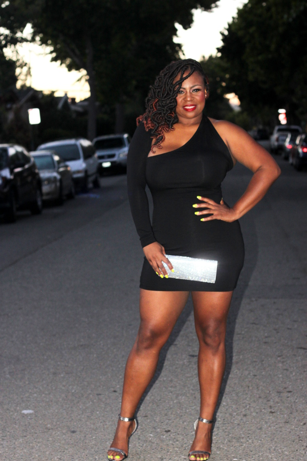 ASOS-Little-Black-Dress, Faux-Locs-Extensions, Aldo-Rhinestone-Clutch, Plus-Size-Blogger, Fashion-Life-Style-Blogger