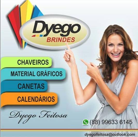 Dyego Brindes, em Acopiara, Na compra de qualquer brindes concorra a uma Pop 0 KM, no final do ano.