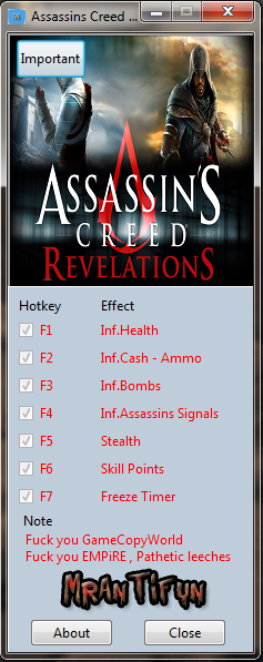 Assassins Creed Revelations V1.2.2.0 Trainer +7 MrAntiFun