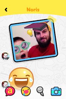 Imagem do PlayKids Talk, comigo e o Miguel zoando de professor e aluno.