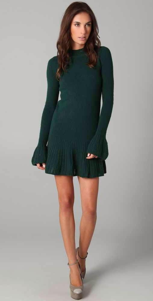 sukienka z kaszmiru na drutach