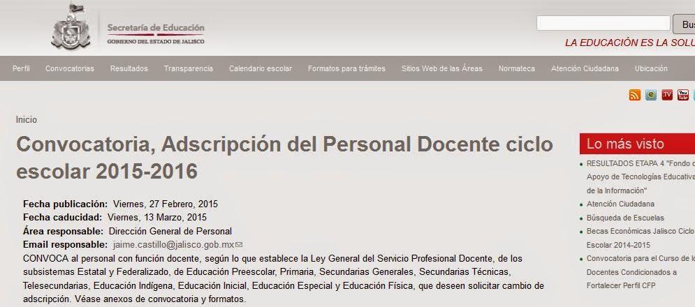 Convocatoria adscripci n del personal docente ciclo for Convocatoria para concurso docente 2016