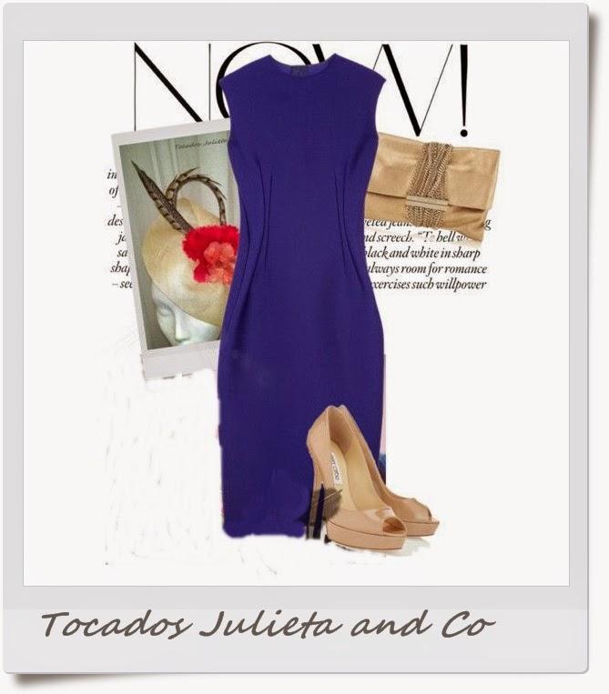 tocado para vestido azul marino