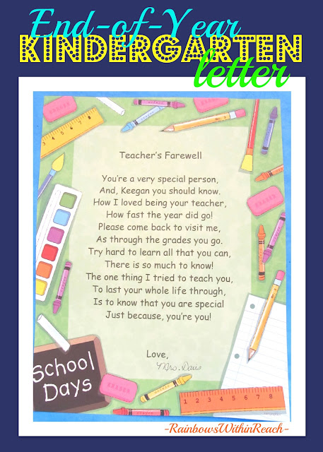photo of: Teacher's Farewell Letter for end of year