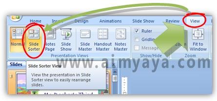 Gambar:  Cara merubah view menjadi Slide Sorter di Powerpoint