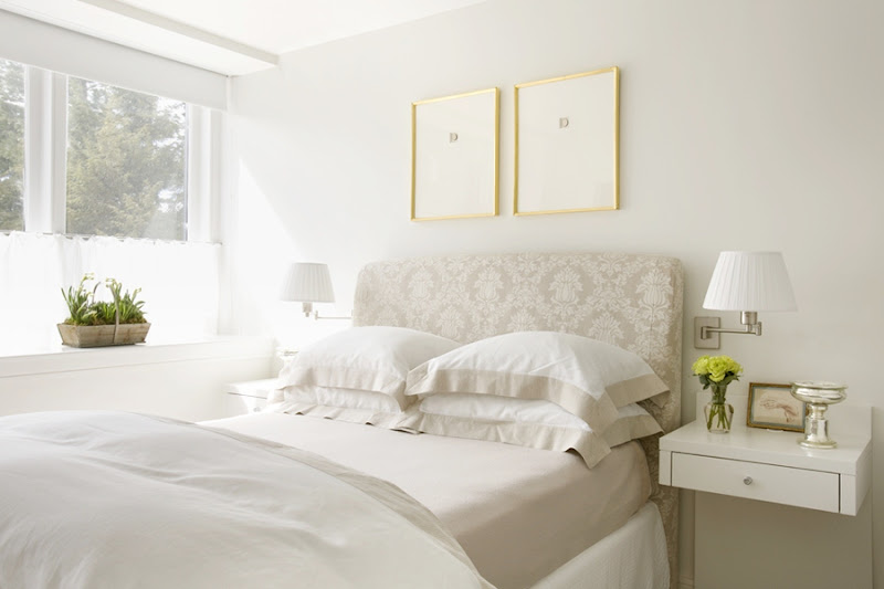 White Headboard with Floating Nightstands