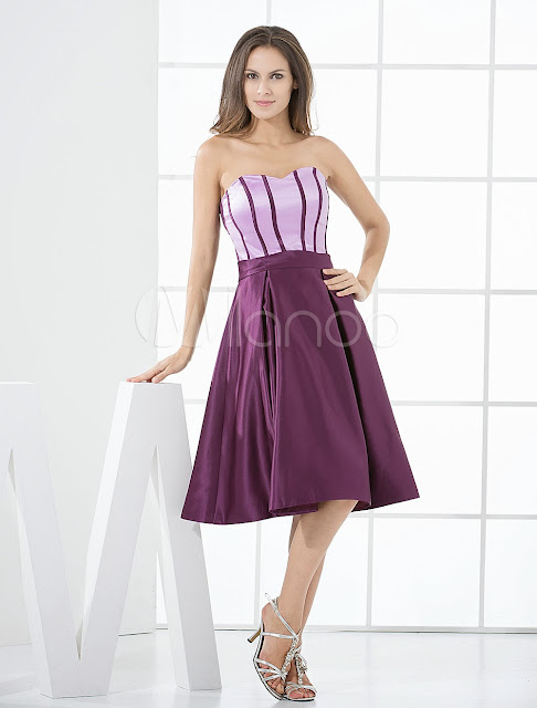 China Wholesale Clothes - Cute Grape Satin Knee Length Bridesmaid Dress