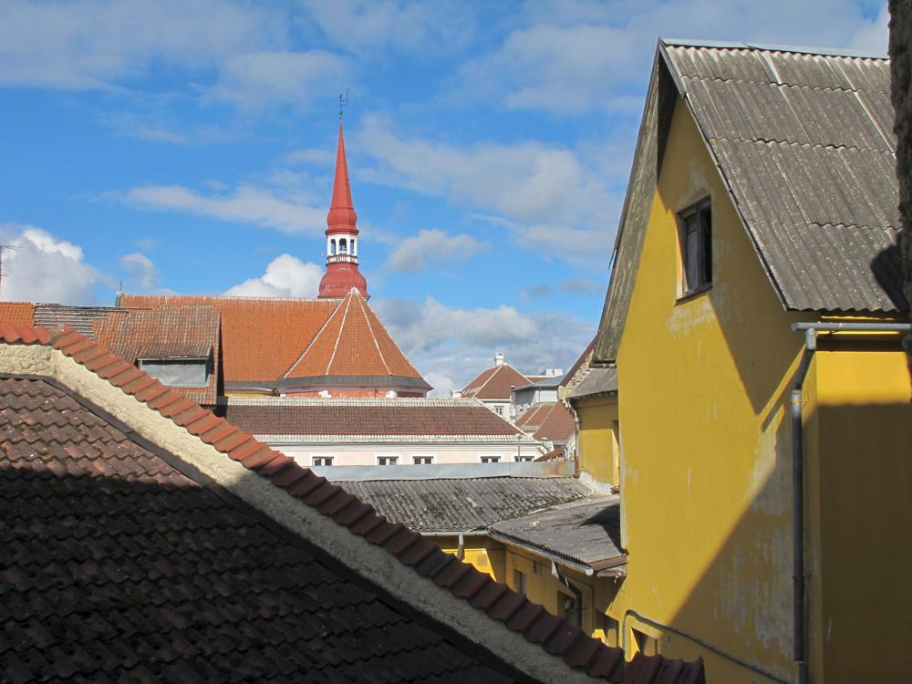 view over the Pärnu rooftops to the cathedral photo by susan wellington