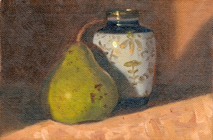 Oil painting of a green pear beside a small blue and white porcelain Chinese-style vase with gold-coloured patterns.