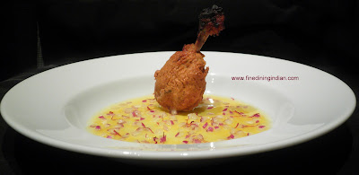 fine dining indian picture of chicken saffron broth or shorba with tandoori kebab recipe