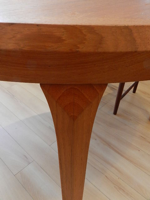 round teak dining table with one leaf denmark c 1960s 47 diameter
