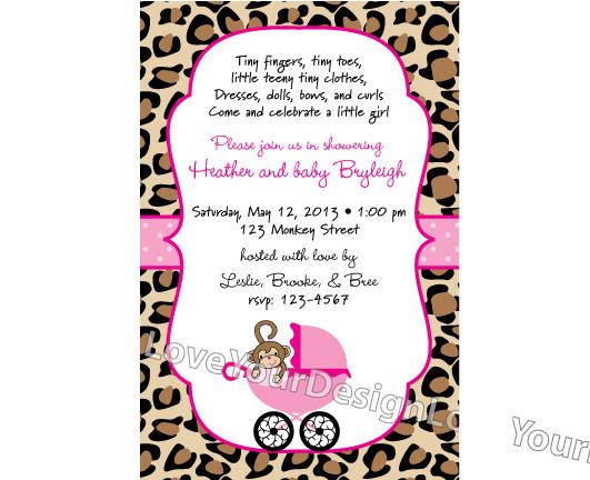 monkey baby stroller and cheetah print baby shower invitation