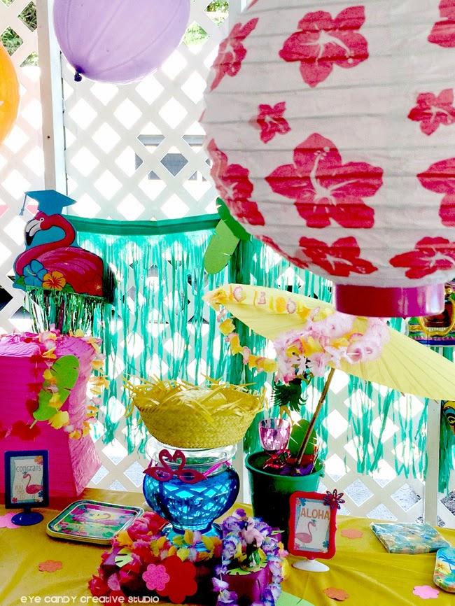 flamingos, grad party idea, aloha, summertime, party decor for a luau