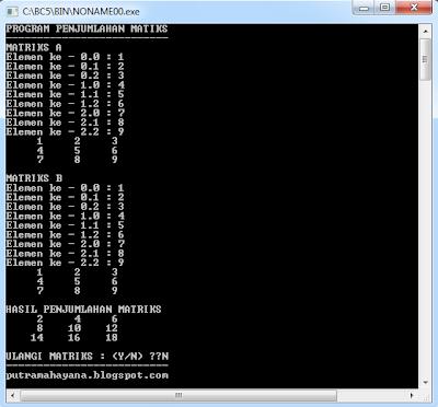 program penjumlahan matriks C++