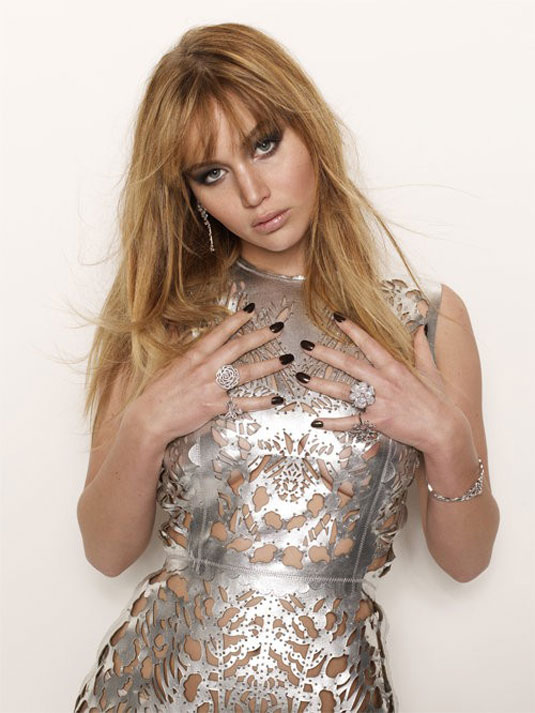 Jennifer Lawrence in silver see thorugh dress, photo shoot for Interview Magazine 2012