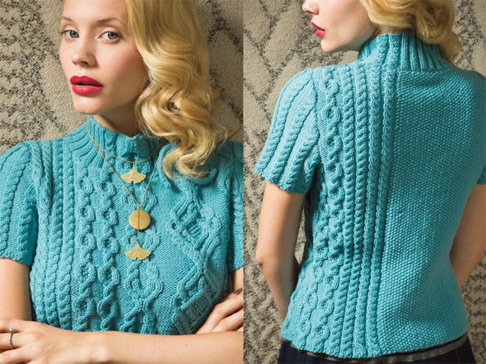 Красивый пуловер с короткими рукавами от Фионы Эллис связан спицами великолепным узором из аранов. Ссылка