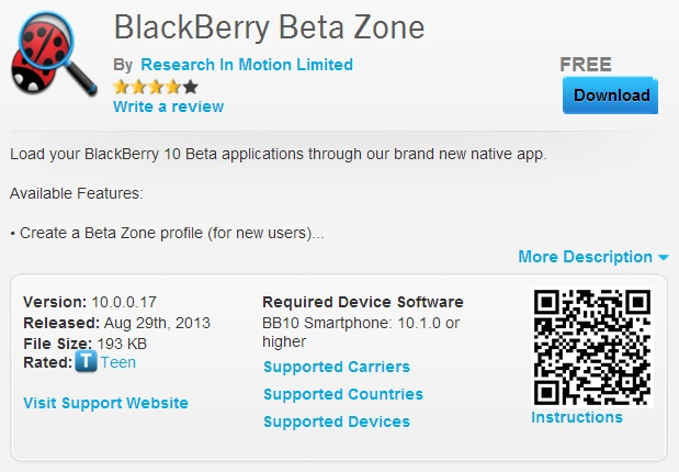 BlackBerry Beta Zone Detail