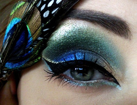 Glittery Blue Green Peacock Eye Makeup