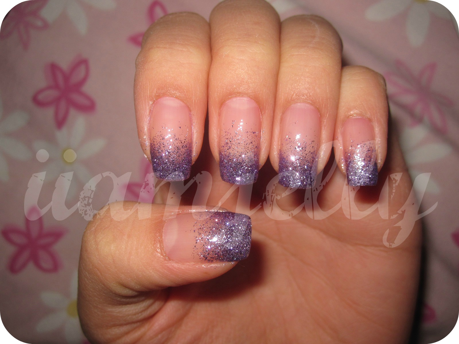 Jelly\'s Nails: Purple Glitter Gradient Nails