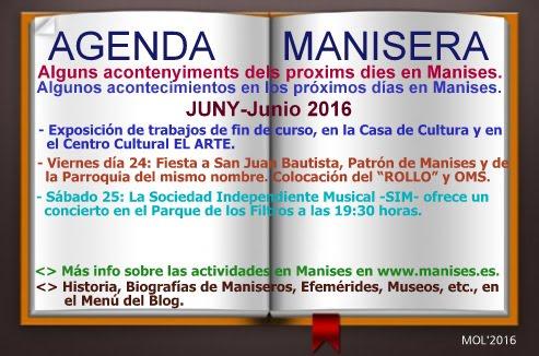 AGENDA MANISERA, SEMANA 25 DE 2016
