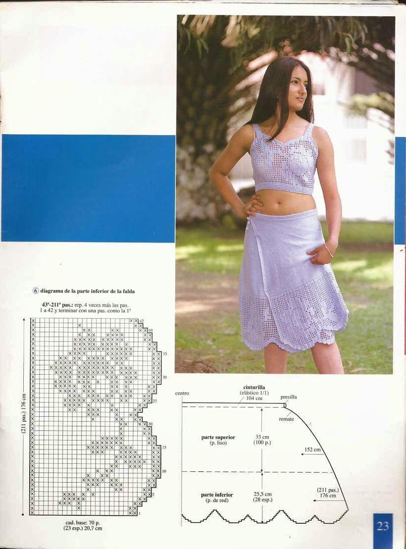 Top y Falda a Juego Azul a Crochet