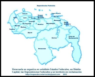 Mapa de la Organización política de VENEZUELA