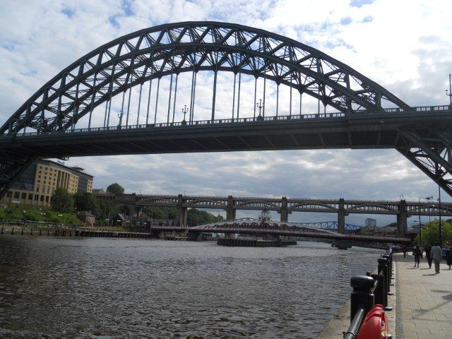 The Tyne Bridge with the swing bridge and the High level bridge in the background.