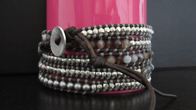 DIY: How to make Chan Luu style 5 wrap bracelet - Botswana Agate Mix Wrap Bracelet with Sterling Silver on Natural Grey Leather