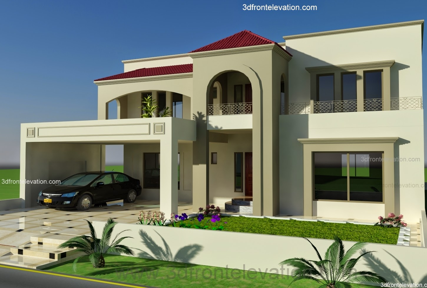 3D Front Elevationcom 1 Kanal Plot House Design Europen style in