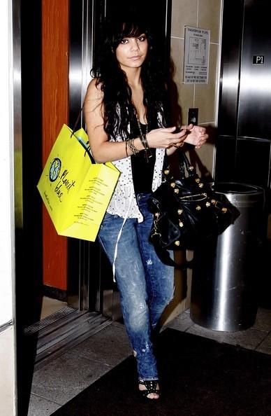 0e3b161002 Vanessa Hudgens Fashion and Style Black Balenciaga Designer Handbag Part  Time Gold Hardware Jessy Jade Bag Review