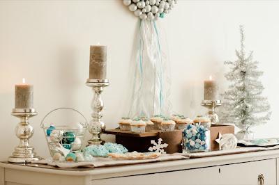Decoracion Fin de Ano blanca y turquesa