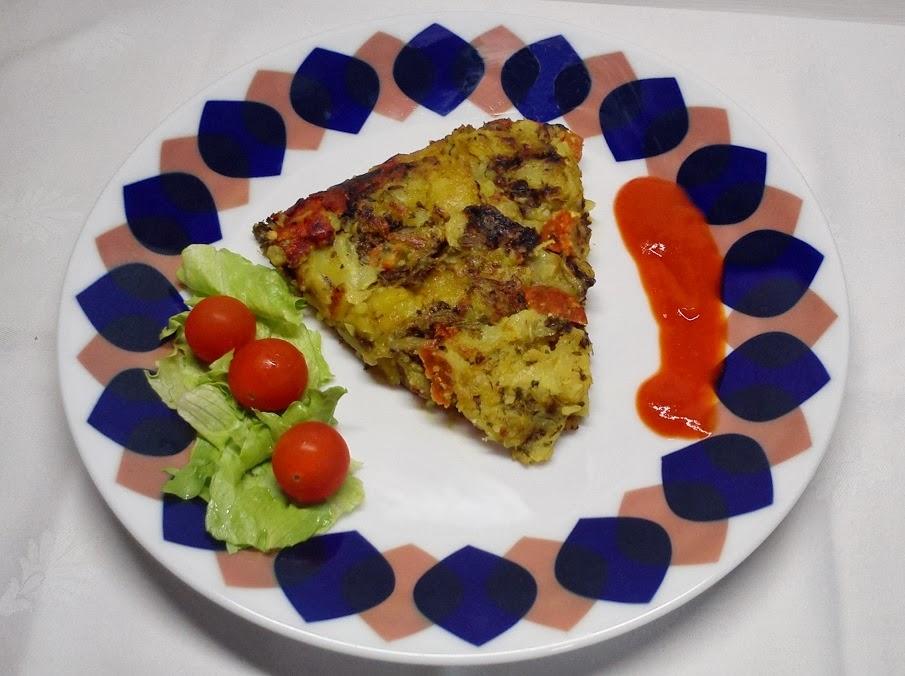 Tortilla Vegana de Grelos y Chorizo