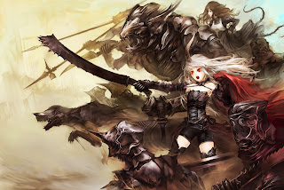 Charge to Battle Female Girl Warrior Black Armor Sword Beast Red Eye Anime HD Wallpaper Desktop PC Backgound 1680