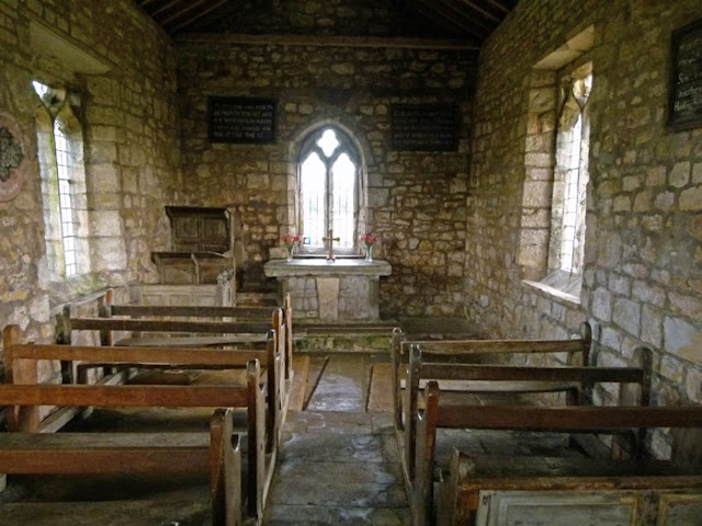 Late medieval, benches, pews, 3-tiered pulpit, rustic altar