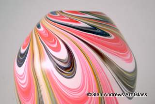 Blown Glass Art Vase in Spring Colors