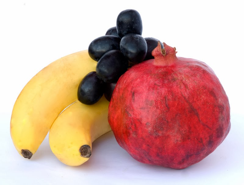 Bananas, grapes and pomegranate