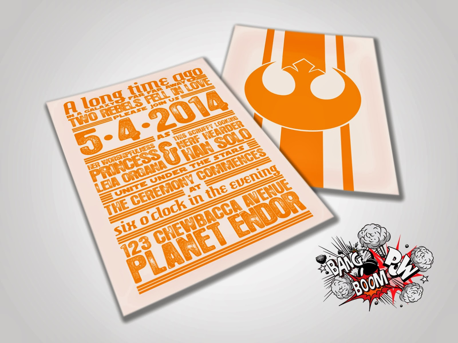Bang Boom Pow Rebels in Love Star Wars Themed Wedding Invitations