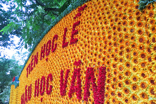 Flower Sign at the Temple of Literature in Hanoi, Vietnam