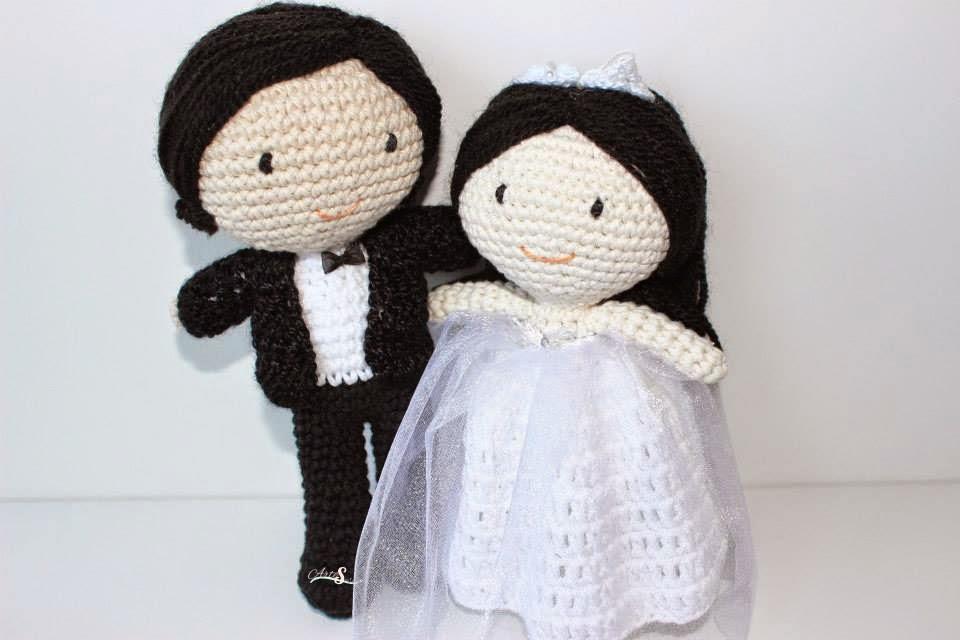 Novios amigurumi, regalo boda, munecos tarta de boda ...