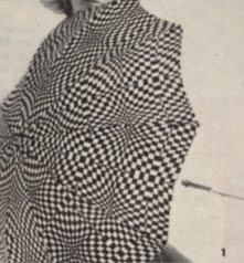 Op' Art 1966 umbrella  60s 1960 mod black white Optical industries du