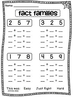 Worksheets Fact Family Worksheets kindergarten fact family worksheets worksheets1st math facts first grade educational activities
