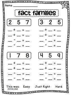 Worksheets Fact Family Worksheets kindergarten fact family worksheets worksheets1st math facts first grade educational activities