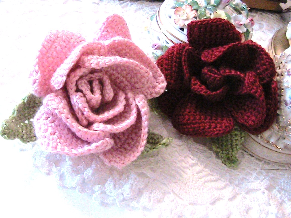 Crochet Patterns Roses Free : Kattys Cosy Cove: Beautiful Crochet Flower Accessory