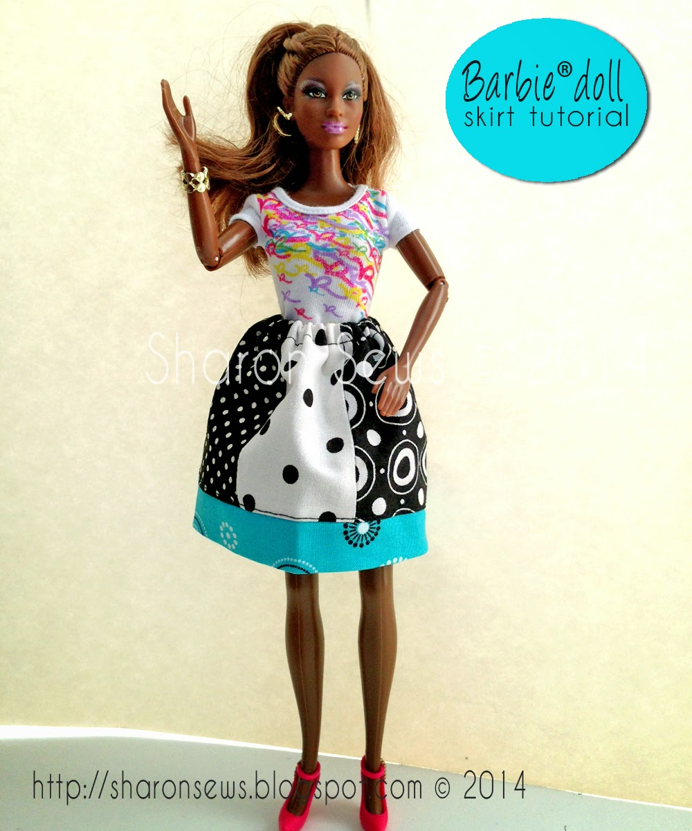 "Free Tutorial How to Sew a Barbie Doll Skirt (or other 11-1/2"" fashion doll)"